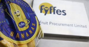 A bunch of Fyffes bananas pictured outside the company's head office in Dublin.  The  Irish fruit giant is to be acquired by Japan's Sumitomo Corporation in a deal which values the firm at €751 million. Photograph:  Brian Lawless/PA Wire