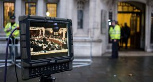 A video feed from inside the supreme court in London. The court is to decide whether Theresa May's government can trigger article 50 and start the Brexit process without a parliamentary vote. Photograph: Will Oliver/EPA