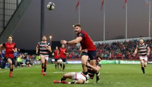 Munster's bonus point came from a penalty try after Jaco Taute was tackled by Leicester's George Worth while chasing a ball kicked through from Darren Sweetnam. Photograph: Dan Sheridan/Inpho