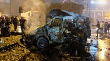 A damaged vehicle is seen after a blast in Istanbul, Turkey on Saturday. Photograph: Reuters
