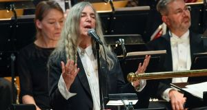 Singer Patti Smith performs Bob Dylan's  A Hard Rain's A-Gonna Fall during the 2016 Nobel prize-giving  ceremony in Stockholm. Photograph: Jonas Ekstromer/AP/TT News Agency