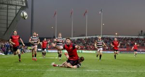 Munster are given a penalty try after a late tackle by Leicester Tigers' George Worth on  Jaco Taute at Thomond Park, Limerick. Photograph: Inpho