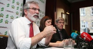 Gerry Adams during a party press conference in Dublin last week.  Photograph: Brian Lawless/PA