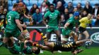 Kurtley Beale gets past the tackle of  Connacht's Stacey Ili before scoring Wasps' first try in the Champions Cup game at the Ricoh Arena in Coventry. Photograph:  Paul Childs/Action Images via Reuters/Livepic