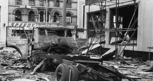 The aftermath of an explosion in April 1972  at the Europa. Photographer: Ciaran Donnelly