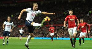 Tottenham Hotspur's Harry Kane in possession  during his side's clash with Manchester United yesterday. Photograph: Richard Heathcote/Getty Images
