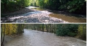 The River Rhymney, South Wales, before and after essential maintenance work to remove build-up of shoal