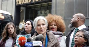 Green Party presidential nominee Jill Stein speaks during a news conference outside Trump Tower in Manhattan, New York. File photograph: Brendan McDermid/Reuters