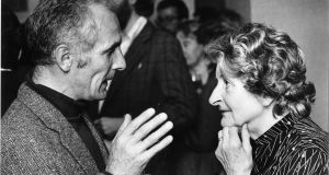 Molly Keane at the  1984 Hennessy Literary Awards with  medallist Vincent Mahon. Photograph: Matt Kavanagh