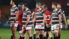 Dejected Leicester Tigers players after their 38-0 defeat to Munster at Thomond Park on Saturday. Photograph: David Rogers/Getty Images.