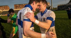 St Vincent's Diarmuid Connolly celebrates with Tomás Quinn after the Leinster club final win over Rhode. Photograph: Ryan Byrne/Inpho