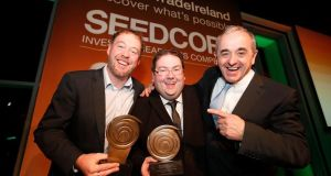 Gecko Governance's  Shane Brett and  Damien Cahill with InterTradeIreland's  Laurence Lord.