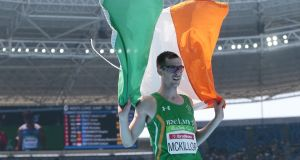 Ireland's Michael McKillop  celebrates  victory after the Men's 1500 metre-T37 final at the   Paralympic Games in Rio. Photograph:  Alexandre Loureiro/Getty Images