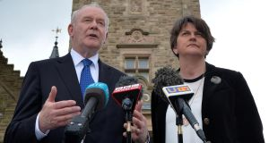 The North's Deputy First Minister Martin McGuinness and First Minister Arlene Foster. Photograph: Colm Lenaghan/Pacemaker