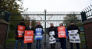 Members of the Association of Secondary Teachers of Ireland (ASTI) take part in a strike  over a pay dispute in  November.  Photograph: Clodagh Kilcoyne/Reuters