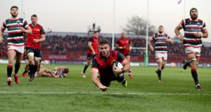Munster's Jaco Taute scores their third try against Leicester last weekend. Photo: Dan Sherida/Inpho