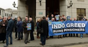 People take part in the NUJ protest on December 5th over Independent Newspapers pension entitlements, outside the Alexander Hotel. Photograph: Eric Luke
