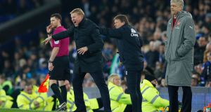 Ronald Koeman's Everton beat Arsenal 2-1 on Tuesday night, with Arsene Wenger pointing the finger at officials in the aftermath. Photograph: Reuters/Phil Noble