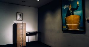 A filing cabinet broken into in 1972 as part of the Watergate burglary, beside a computer server that Russian hackers breached during the 2016 presidential campaign, both now in the basement of the Democratic National Committee's headquarters in Washington. Photograph: Justin T Gellerson/The New York Times