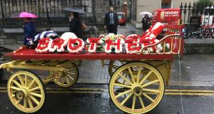 A carriage is seen outside the funeral of gangland figure Mark Desmond on Meath Street in Dublin today. Photograph: Peter Murtagh/The Irish Times