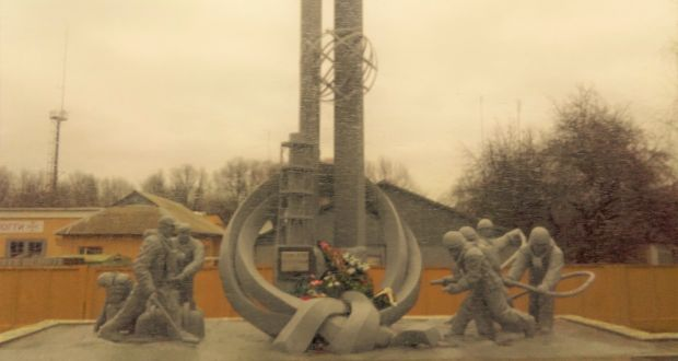 """A memorial in still-abandoned Pripyat to the """"suicide squad"""" of firefighters who initially fought the Chernobyl disaster."""
