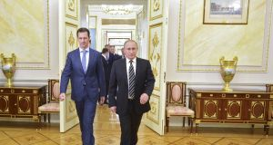 Syria's president Bashar al-Assad and Russia's president Vladimir Putin in Moscow in 2015. Photograph: Reuters