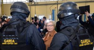 Tánaiste and Minister for Justice Frances Fitzgerald TD inspects the new Garda Armed Support Unit (ASU) for the Dublin region, at Garda HQ in Phoenix Park. Photograph: Dara Mac Dónaill