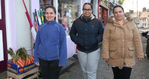 Ana Maria Alves Caiado, Olivia Rocha dos Santos and Joyce Correa da Silva in Gort: women are among the estimated 400 Brazilians living in the Galway town. Photograph: Joe O'Shaughnessy