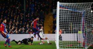 Manchester United's Zlatan Ibrahimovic slides the ball into the net for his side's winner against Crystal Palace at Selhurst Park. Photo: Getty Images