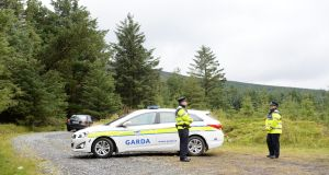 Gardai at the scene in the Dublin mountains where the remains of Michael McCoy were found. Photograph: Cyril Byrne