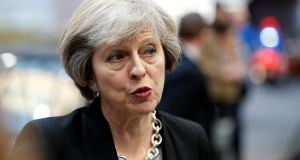 Britain's prime minister Theresa May has advocated a tough line on Syria and an extension of sanctions on Russia. Photograph: Francois Lenoir/Reuters