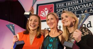 2015's sporting heroes: Rena Buckley and Briege Corkery, overall winners of the 2015 Irish Times Sport Ireland award, with Catherina McKiernan, who was awarded the outstanding contribution to Women's Sport Award. Photograph: Brenda Fitzsimons
