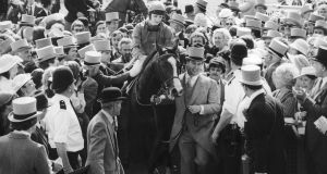 Walter Swinburn (August 7th, 1961-December 12th, 2016 ) on Shergar, after winning the Derby at Epsom in 1981.  Photograph: Central Press/Hulton Archive/Getty Images