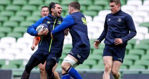 Leinster's sa Nacewa with Sean O'Brien during the Captain's Run ahead of their European Champions Cup clash with Northampton Saints. Photo: Tommy Dickson/Inpho
