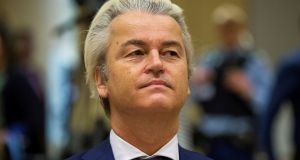 PVV leader Geert Wilders was found guilty of inciting discrimination at a rally in 2014 when he asked the crowd whether they wanted 'more or less Moroccans' in the country. Photograph: Michael Kooren/ Reuters
