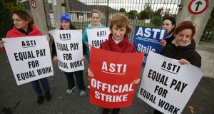 Staff at Loreto Secondary School, Bray, Co Wicklow, on strike in October. Photograph: Nick Bradshaw