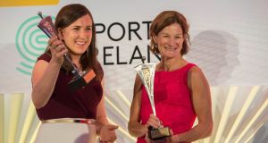 The Irish Times/Sport Ireland Sportswoman of the Year Annalise Murphy with Sonia O'Sullivan, who was awarded the Outstanding Achievement Award at the annual awards ceremony at the Shelbourne Hotel, Dublin. Photograph: Brenda Fitzsimons