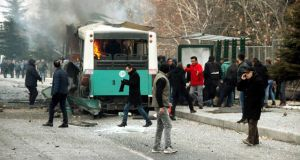 Turkey's Dogan news agency said the blast hit the bus as it drove past a car believed to be packed with explosives. Photograph:  Turan Bulut/ Ihlas News Agency via Reuters
