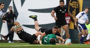 Robbie Henshaw touches down for Ireland's  fifth try against New Zealand at Soldier Field in Chicago on November 5th. Photograph: Phil Walter/Getty Images