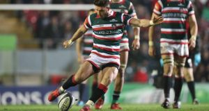Owen Williams of Leicester kicks a long range, last minute, match winning penalty at Welford Road. Photograph: Inpho