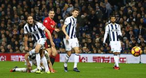 Zlatan Ibrahimovic scores his second goal in Manchester United's win over West Bromwich Albion  at The Hawthorns. Photograph: Michael Steele/Getty Images