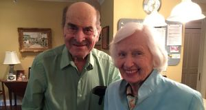 Dr Henry Heimlich (left), the 96-year-old Cincinnati surgeon credited with inventing the life-saving technique named for him, poses with Patty Ris (87) who he saved this year from choking on a hamburger, at the Deupree House seniors' home in Cincinatti, Ohio. Photograph:  Episcopal Retirement Services/Bryan Reynolds/Handout via Reuters