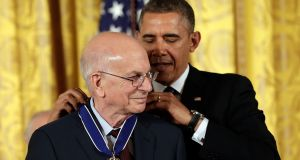 U.S. President Barack Obama awards the Presidential Medal of Freedom to Daniel Kahneman in the East Room at the White House in November, 2013.