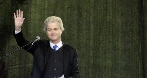 Victory by Geert Wilders's far-right party in  Dutch parliamentary elections would mark a turning away by an  EU founding member  from the  core values of the union.  Photograph: Jens Schlueter/Getty Images