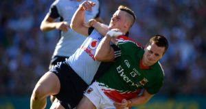 You'd hope  Mayo's Cillian O'Connor gets to decide a game with an injury-time free before the clocks go forward. Photograph: Dara MacDonaill