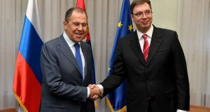 Sergei Lavrov   with Serbian prime minister Aleksandar Vucic in Belgrade. Photograph: Andre J Isakovic/AFP/Getty Images