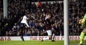 Tottenham's Danny Rose scores his side's second goal  during the Premier League match against Burnley at White Hart Lane. Photograph:  Nick Potts/PA Wire