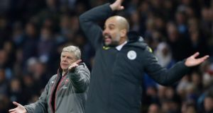 Arsene Wenger and Pep Guardiola: Losing is especially problematic for a clever-clogs foreigner like Guardiola in tired-of-experts Brexit Britain. Photograph: Carl Recine Livepic via Reuters