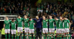 Ireland stand for a minutes silence prior to their international friendly clash with Switzerland. Photo: Inpho