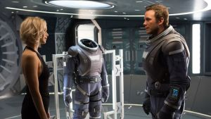 "Star bores: Jennifer Lawrence and Chris Pratt contemplate a close encounter in ""Passengers""."
